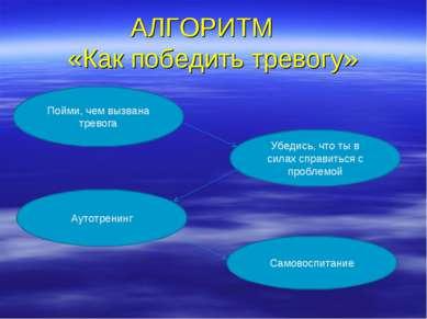 АЛГОРИТМ «Как победить тревогу» Пойми, чем вызвана тревога Убедись, что ты в ...