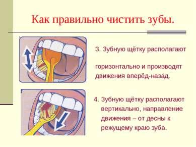 Как правильно чистить зубы. 3. Зубную щётку располагают горизонтально и произ...