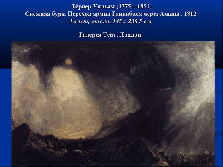 Тёрнер Уильям (1775—1851) Снежная буря. Переход армии Ганнибала через Альпы ....
