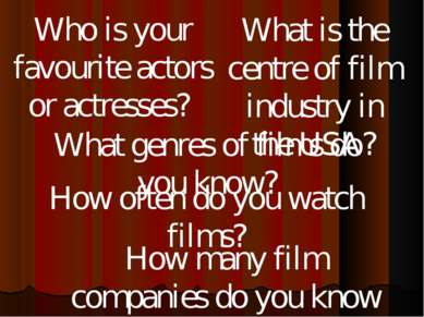 What genres of films do you know? How many film companies do you know in Russ...