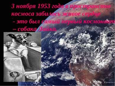 3 ноября 1953 года в пространстве космоса забилось живое сердце - это был сам...