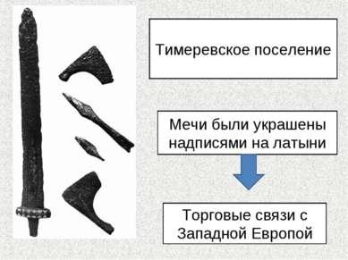Тимеревское поселение Мечи были украшены надписями на латыни Торговые связи с...