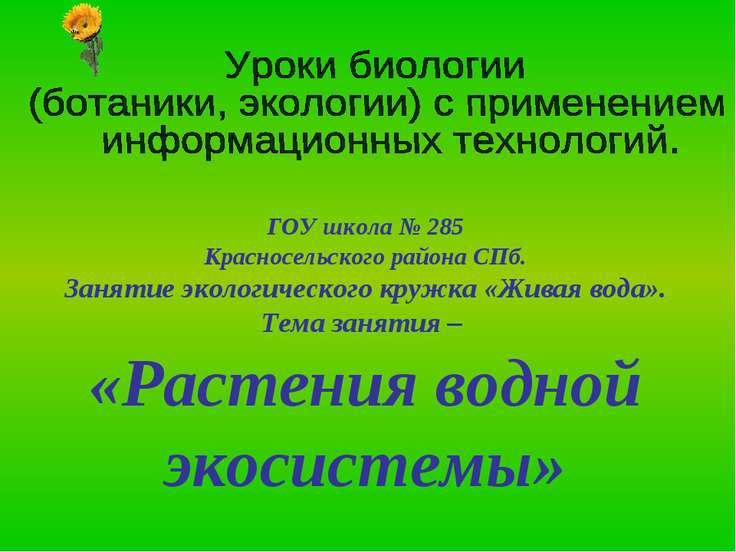 ГОУ школа № 285 Красносельского района СПб. Занятие экологического кружка «Жи...