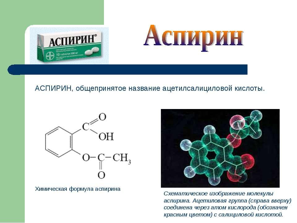 Схематическое изображение молекулы аспирина. Ацетиловая группа (справа вверху...