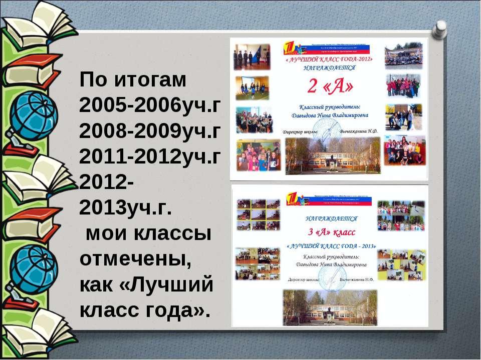 По итогам 2005-2006уч.г 2008-2009уч.г 2011-2012уч.г 2012-2013уч.г. мои классы...