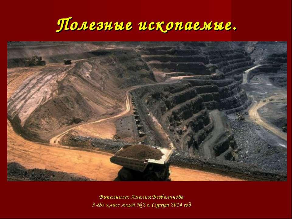 Полезные ископаемые. Выполнила: Амалия Безбалинова 3 «Б» класс лицей № 2 г. С...