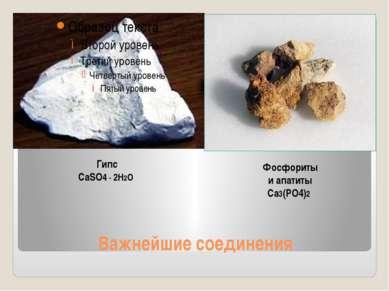 Важнейшие соединения Гипс CaSO4 ∙ 2H2O Фосфориты и апатиты Ca3(PO4)2