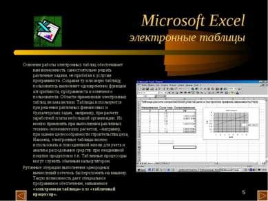 * Microsoft Excel электронные таблицы Освоение работы электронных таблиц обес...