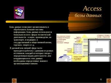 * Access базы данных Базы данных позволяют организовывать и обрабатывать боль...