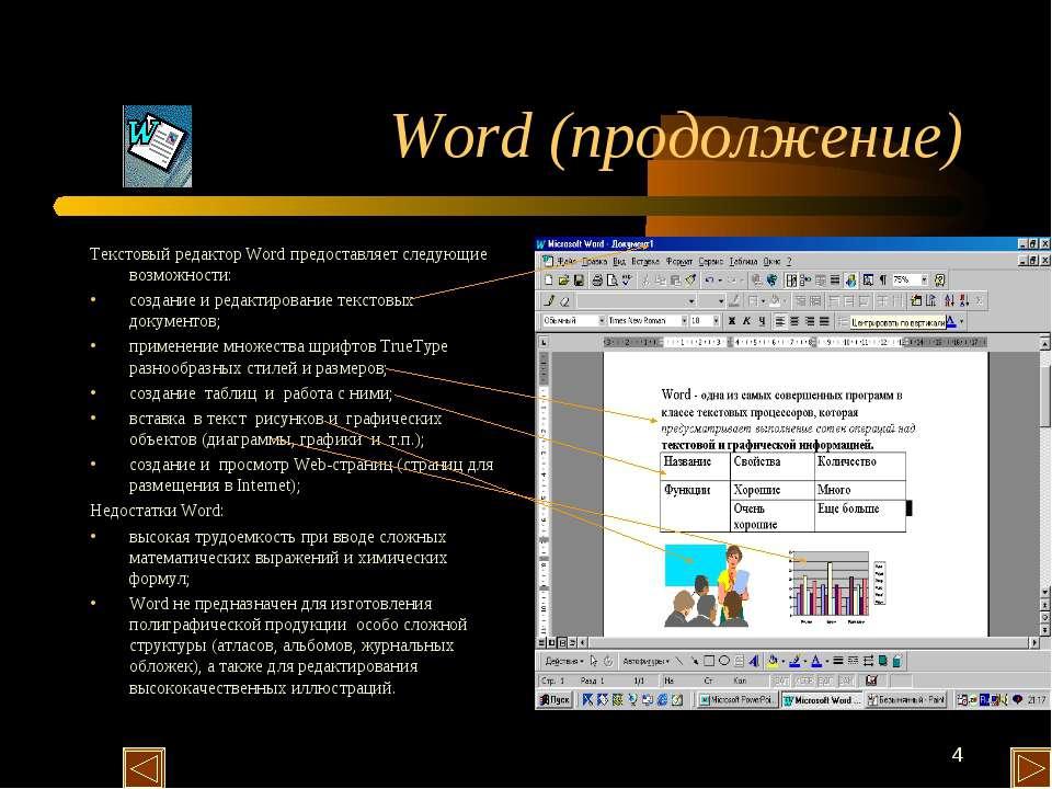 * Word (продолжение) Текстовый редактор Word предоставляет следующие возможно...