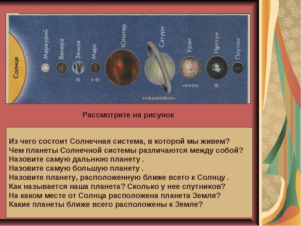 Рассмотрите на рисунок Из чего состоит Солнечная система, в которой мы живем?...
