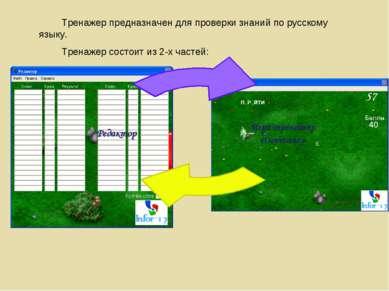 Тренажер предназначен для проверки знаний по русскому языку. Тренажер состоит...