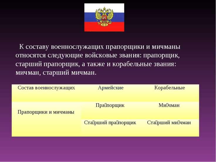 К составу военнослужащих прапорщики и мичманы относятся следующие войсковые з...