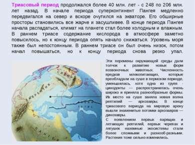 Триасовый период продолжался более 40 млн. лет - с 248 по 206 млн. лет назад....