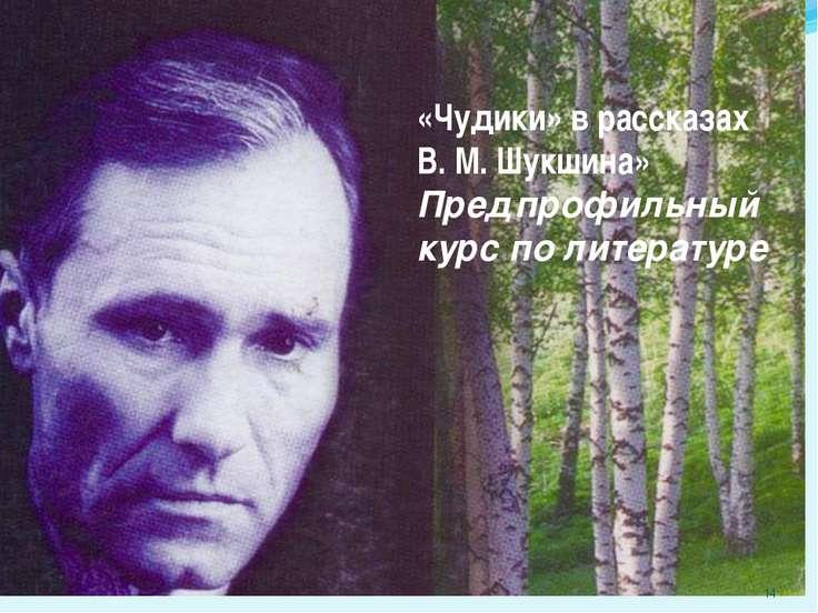 «Чудики» в рассказах В. М. Шукшина» Предпрофильный курс по литературе *