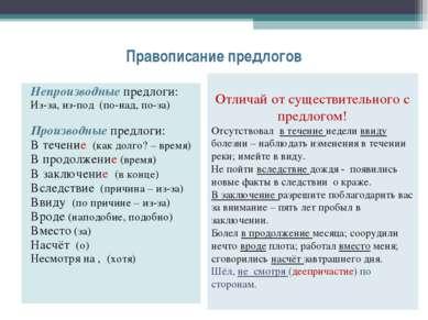 Правописание предлогов Непроизводные предлоги: Из-за, из-под (по-над, по-за) ...