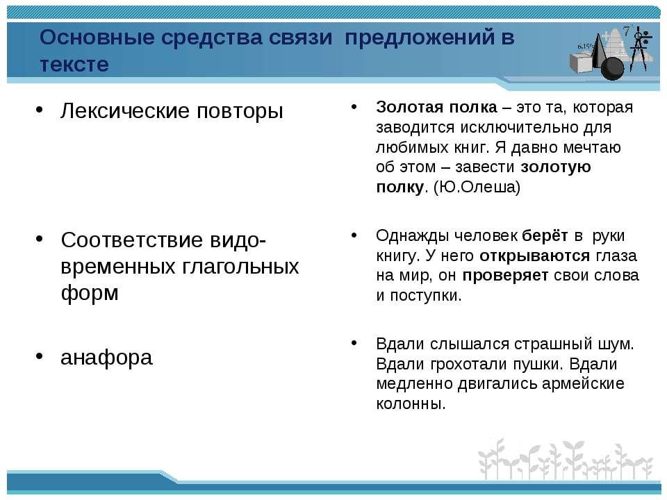 Основные средства связи предложений в тексте Лексические повторы Соответствие...