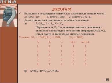 Выполните поразрядное логическое сложение двоичных чисел а) 100 и 110; б) 101...