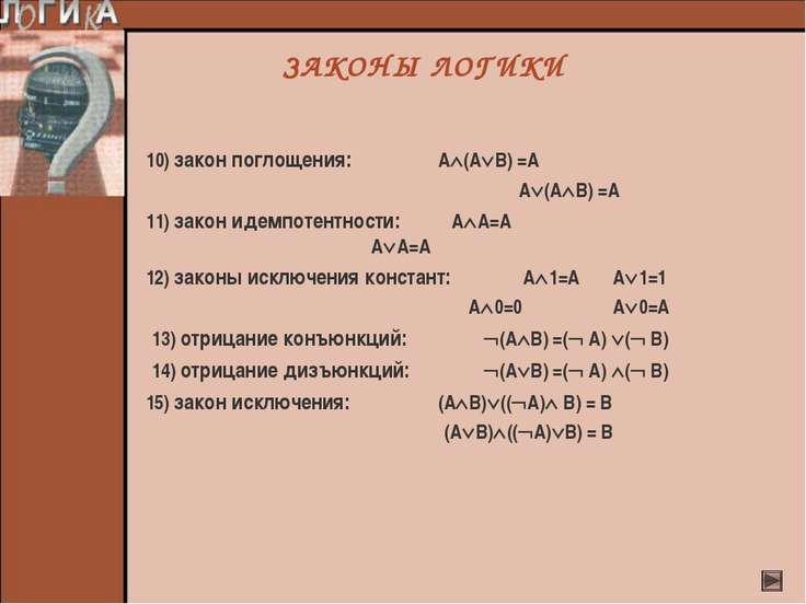 ЗАКОНЫ ЛОГИКИ 10) закон поглощения: А (А В) =А А (А В) =А 11) закон идемпотен...