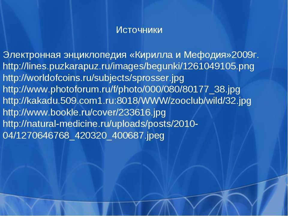 Источники Электронная энциклопедия «Кирилла и Мефодия»2009г. http://lines.puz...