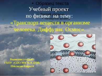 Учебный проект по физике на тему: «Транспорт веществ в организме человека. Ди...
