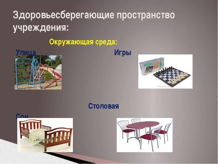 Здоровьесберегающие пространство учреждения: Окружающая среда: Улица Игры Сто...