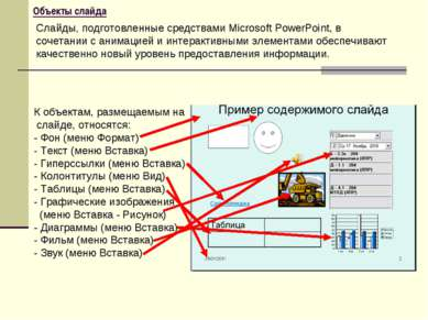 Объекты слайда К объектам, размещаемым на слайде, относятся: - Фон (меню Форм...