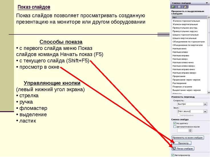 Показ слайдов Способы показа c первого слайда меню Показ слайдов команда Нача...