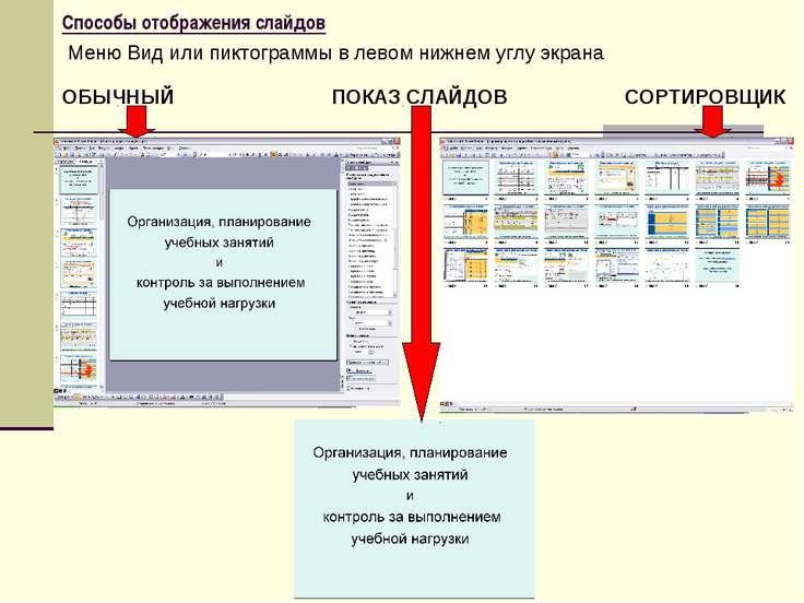 Способы отображения слайдов Меню Вид или пиктограммы в левом нижнем углу экра...