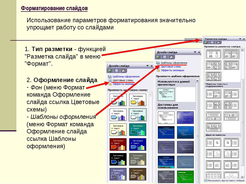 "Форматирование слайдов 1. Тип разметки - функцией ""Разметка слайда"" в меню ""Ф..."