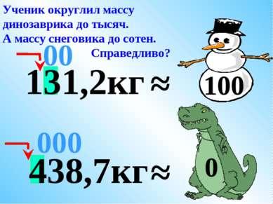 438,7кг ≈ 000 Ученик округлил массу динозаврика до тысяч. А массу снеговика д...