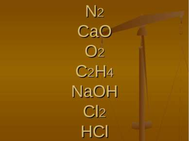 H2SO4 NH3 N2 CaO O2 C2H4 NaOH Cl2 HCl H3PO4 HNO3