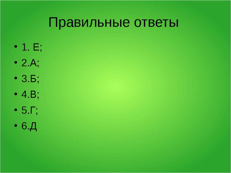 Правильные ответы 1. Е; 2.А; 3.Б; 4.В; 5.Г; 6.Д