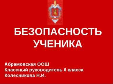 БЕЗОПАСНОСТЬ УЧЕНИКА Абрамовская ООШ Классный руководитель 6 класса Колеснико...