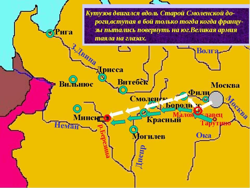 Узнав об отступлении французов из Москвы,Ку-тузов вывел русскую армию к Малоя...