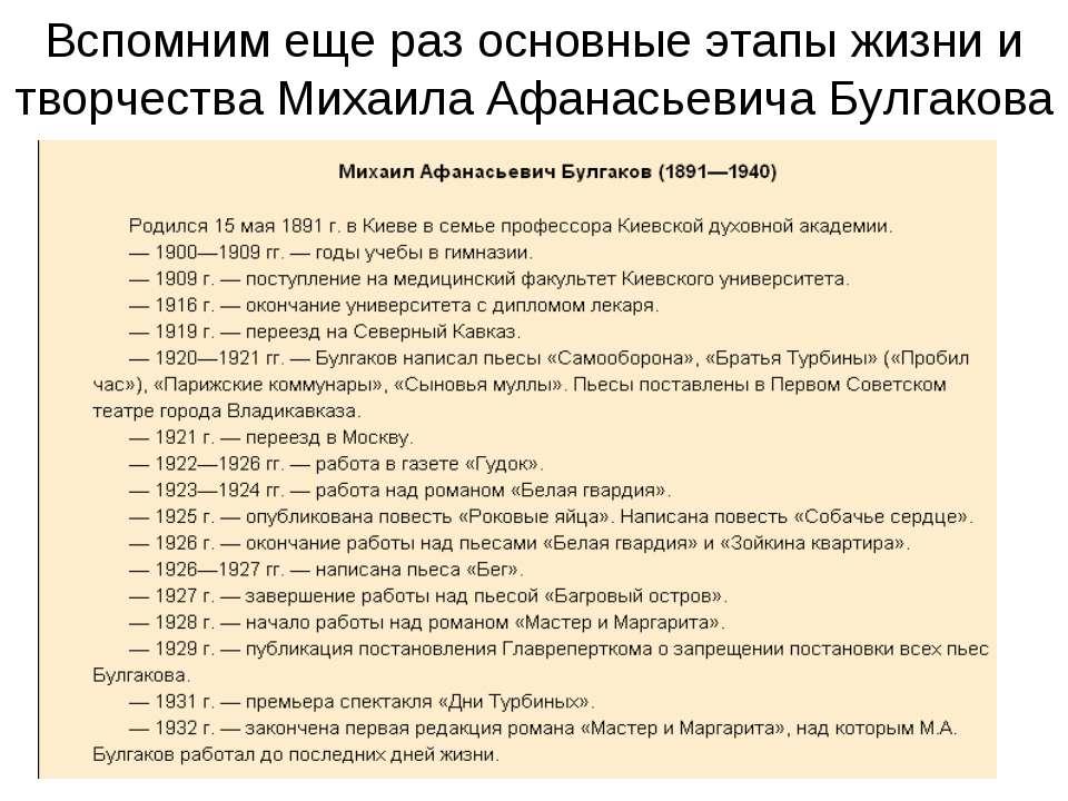 Вспомним еще раз основные этапы жизни и творчества Михаила Афанасьевича Булга...