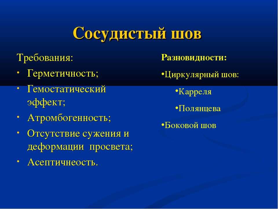 Сосудистый шов Требования: Герметичность; Гемостатический эффект; Атромбогенн...