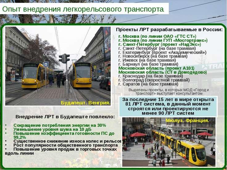 Опыт внедрения легкорельсового транспорта Проекты ЛРТ разрабатываемые в Росси...