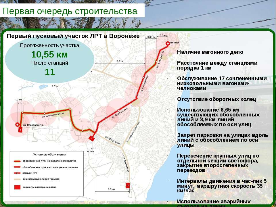 Первая очередь строительства Протяженность участка 10,55 км Число станций 11 ...