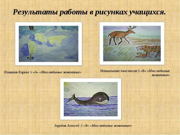 Результаты работы в рисунках учащихся. Плишкин Кирилл 5 «А» «Мои любимые живо...