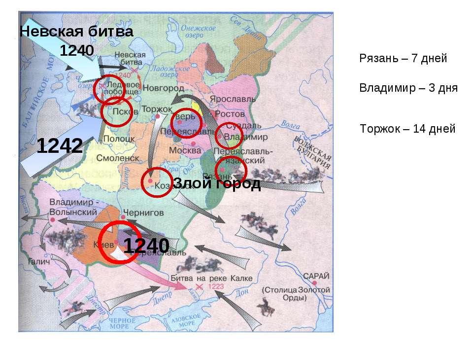 1240 1240 Злой город Рязань – 7 дней Владимир – 3 дня Торжок – 14 дней Невска...