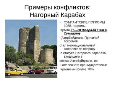 Примеры конфликтов: Нагорный Карабах СУМГАИТСКИЕ ПОГРОМЫ 1988, погромы армян ...