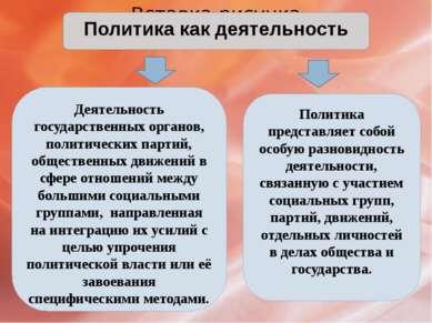 Политика как деятельность Деятельность государственных органов, политических ...
