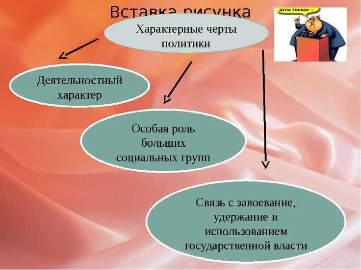 Характерные черты политики Деятельностный характер Особая роль больших социал...