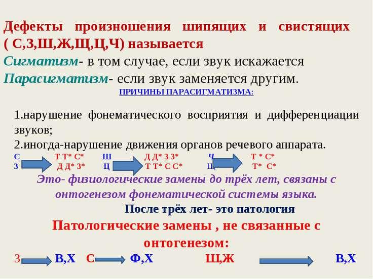 Дефекты произношения шипящих и свистящих ( С,З,Ш,Ж,Щ,Ц,Ч) называется Сигматиз...