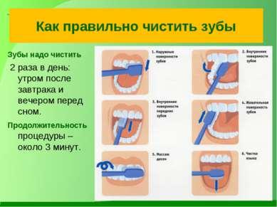 Как правильно чистить зубы Зубы надо чистить 2 раза в день: утром после завтр...