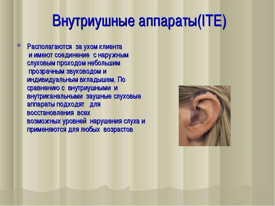 Внутриушные аппараты(ITE) Располагаются за ухомклиента иимеют соединение ...