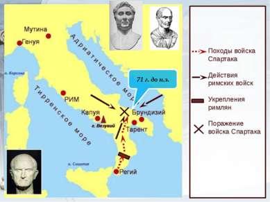 71 г. до н.э. Походы войска Спартака Действия римских войск Укрепления римлян...