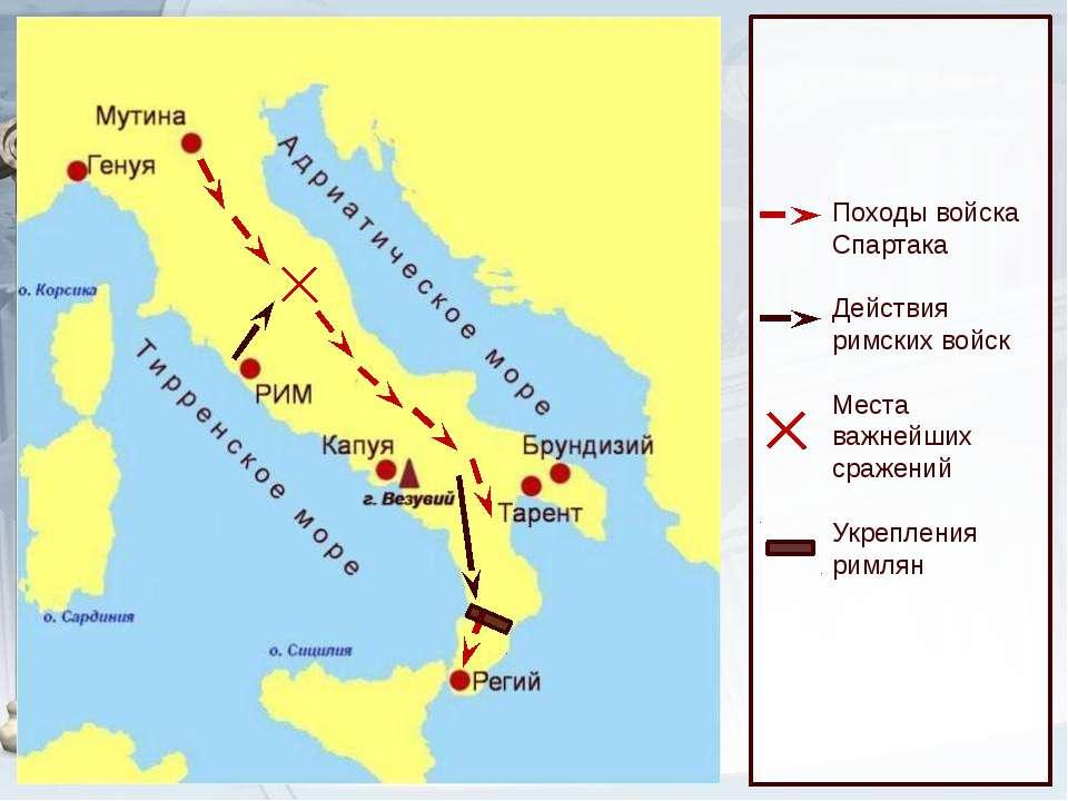 Походы войска Спартака Действия римских войск Места важнейших сражений Укрепл...