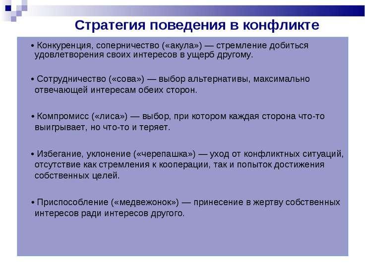 Стратегия поведения в конфликте  • Конкуренция, соперничество («акула») — ст...
